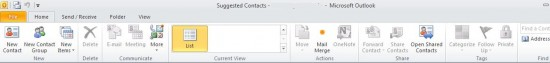 Suggested Contacts in Outlook 2010 and how to disable them