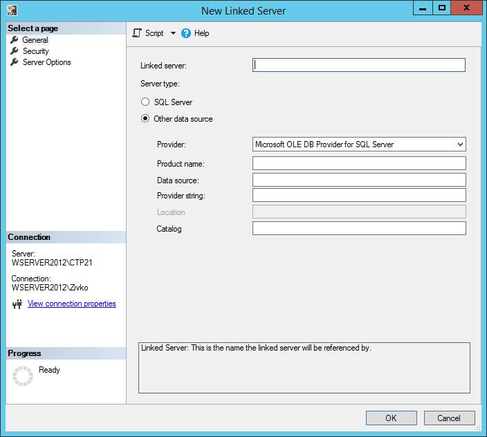 SQL Server - Creating linked server in SQL Server Management Studio