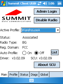 Summit Client Utility interface