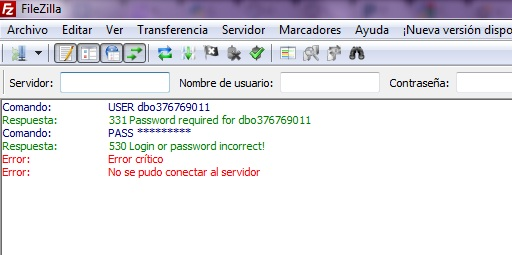 "Error message in IIS: ""530 User (Username) cannot log in. Login failed."""