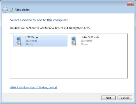 Transfer files via Bluetooth between phones and Windows 7