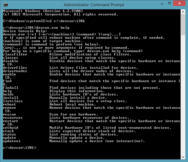 Devcon: manage windows drivers using command prompt.