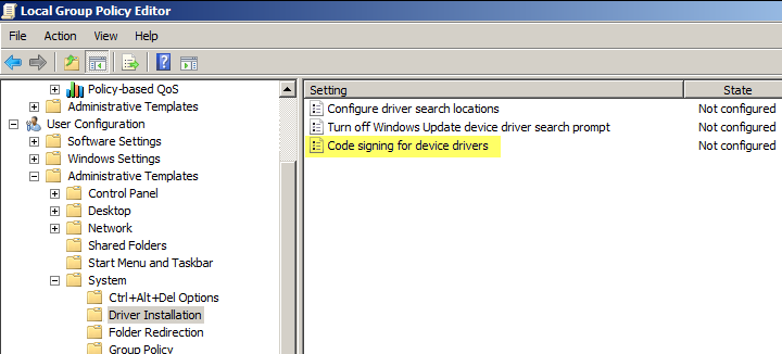 Disable unsigned driver installation warning in Windows