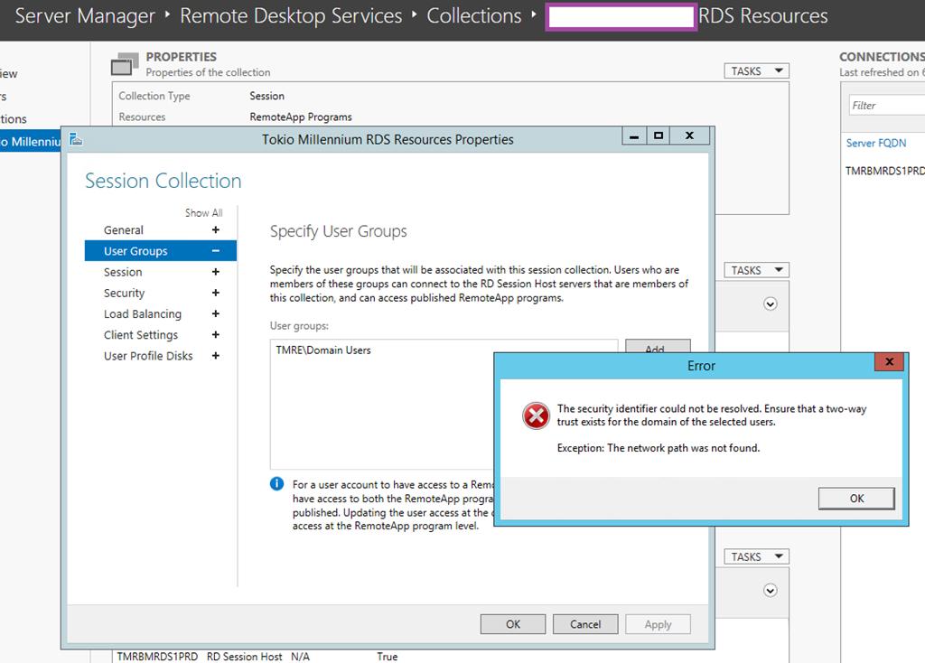 """Windows RDS - """"The security identifer could not be resolved"""" on multiple domains"""