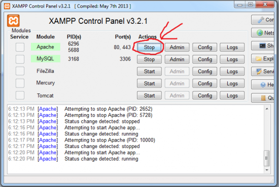 Disable warnings and notices (XAMPP)
