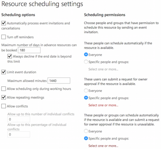 Allow Conflicts in Office 365 Resource Calendar (Room)