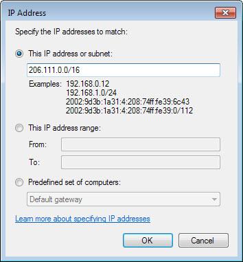 Block IP ranges in Windows Firewall