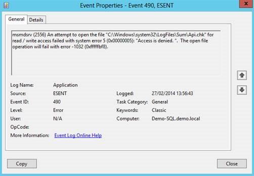 EventLog Event ESENT 490 - Remote Desktop Gateway