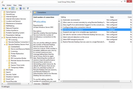 Enable / Disable Multiple RDP Sessions in Windows 2012