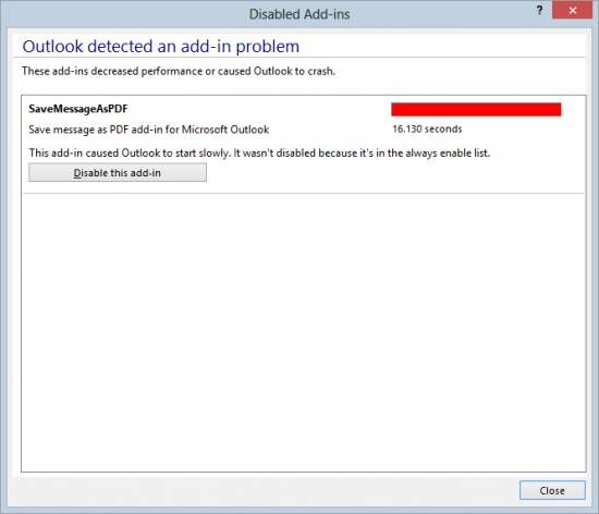 Control Outlook 2013 Add-ins