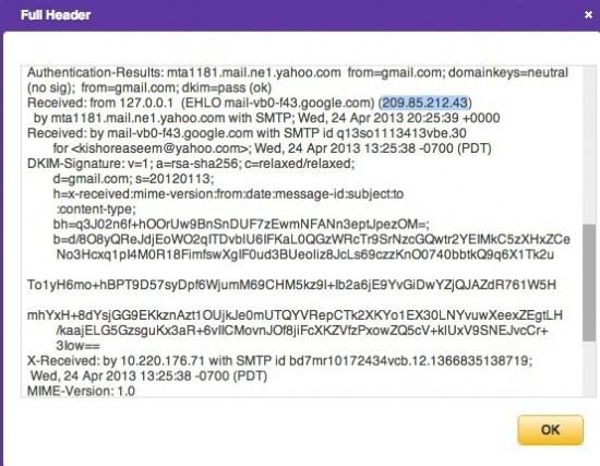 Track the location of E-mail via IP Address