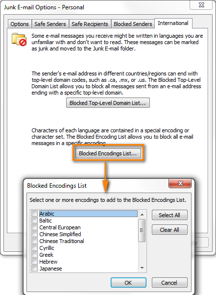 Configure Outlook Junk Mail Filter to stop fake e-mail