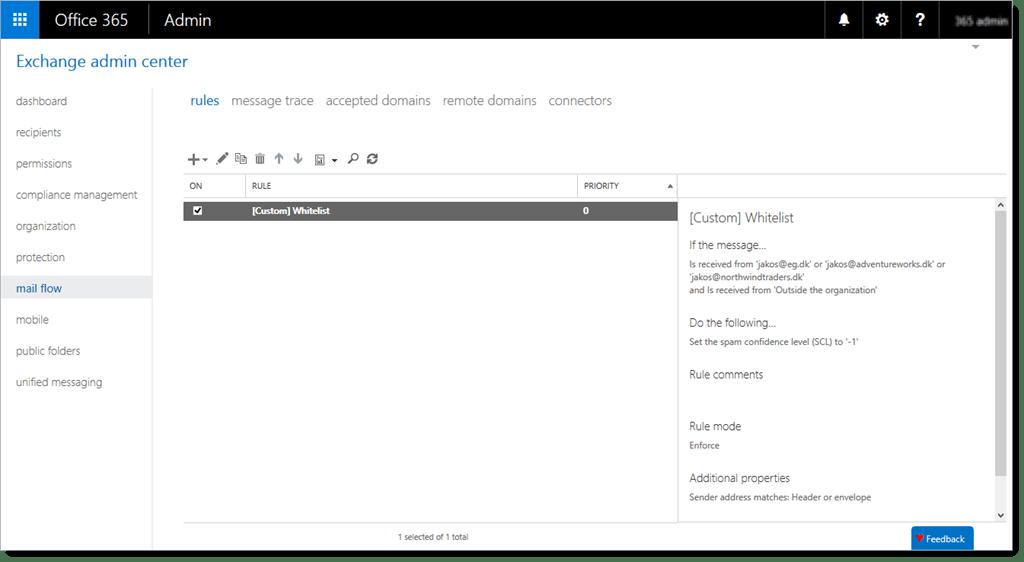 Whitelist addresses in Exchange Online Protection (EOP)