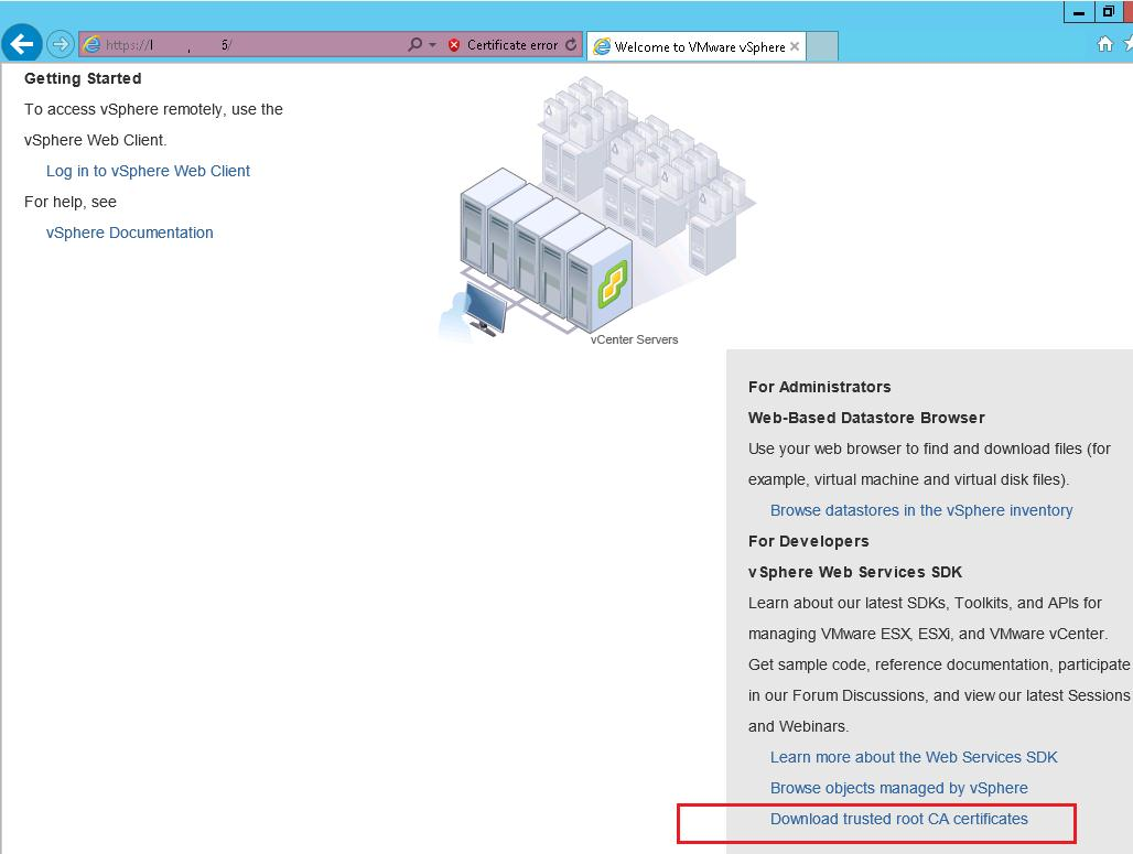 VMware vCenter - Removing Self-Signed Certificate Warning