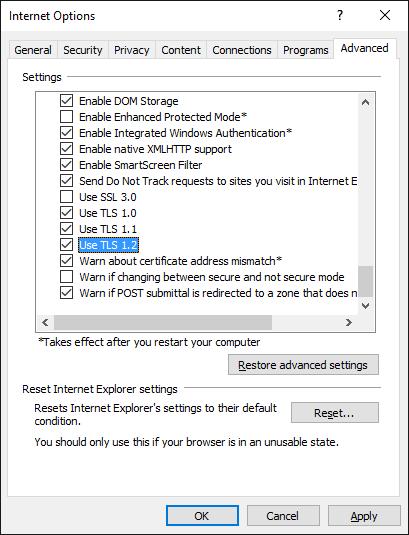 Internet Explorer 11 – SChannel – The internal error state
