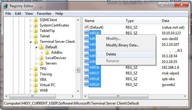 Microsoft Windows - Clear RDP Connections History